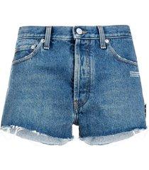 off-white blue cotton-denim denim shorts