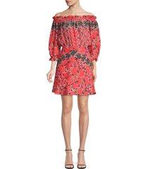 saloni women's grace silk floral mini dress - peach rose - size 4