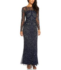 adrianna papell beaded illusion-sleeve gown
