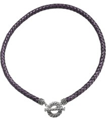 american west purple leather toggle necklace in sterling silver
