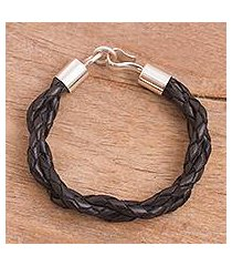 leather braided bracelet, 'dark fantasy' (peru)