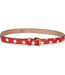 white dot leather belt