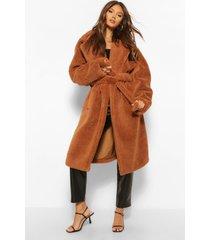 faux teddy fur jas met ceintuur, chocolate