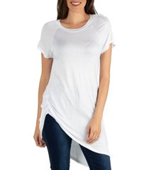 24seven comfort apparel capped sleeve t-shirt with asymmetric hemline