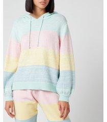 olivia rubin women's suki knitted hoodie - pastel stripe - l