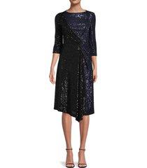 st. john women's starlight sequinned draped dress - black navy - size 00