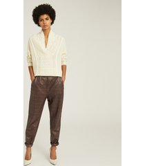 reiss oskia - leather crocodile patterned trousers in mushroom, womens, size 14