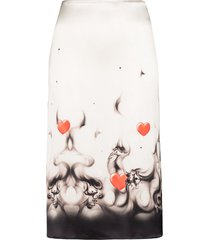 ashley williams printed hem slip skirt - white