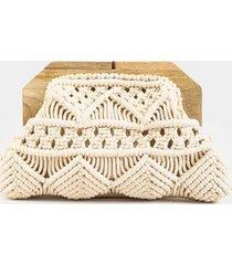 samara crochet wooden clutch - ivory