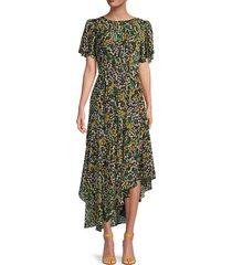 flutter-sleeve asymmetrical floral dress