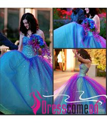 fancy ball gown sweetheart ombre tulle prom graduation quinceanera brides dress