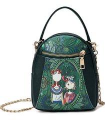 catena da donna con stampa foresta a tracolla casual borsa doppia cerniera spalla borsa secchio per il tempo libero borsa