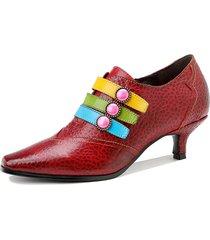socofy retro print vera pelle colorful scarpe da lavoro con tacco a punta a punta con bottone cerniera laterale décollet