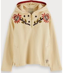 scotch & soda embroidered boxy fit cotton hoodie