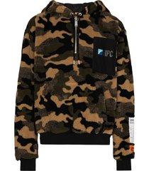 heron preston camouflage-print fleece hoodie - multicolour