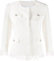 tagliatore tweed frayed blazer - white