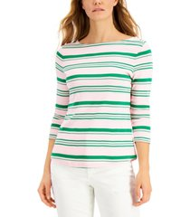 charter club cotton variegated striped top, created for macy's