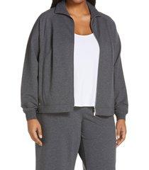 plus size women's lafayette 148 new york copeley bomber jacket, size 1x - grey
