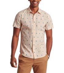 men's bonobos rivie slim fit stretch print short sleeve button-up shirt, size xx-large - yellow