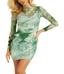 guess nadine sheer printed bodycon dress