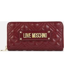 love moschino women's quilted wallet - burgundy
