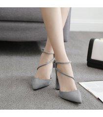 sandalias tacones cuadrados terciopelo con ecocuero para mujer -negro