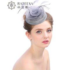 sombrero de mujer tocado de lino hecho a mano novia sombrero pluma palacio