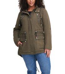 plus size trendy lightweight parachute cotton hooded jacket