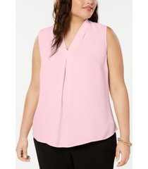 bar iii plus size sleeveless v-neck woven top, created for macy's