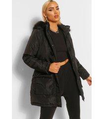 parka jas met faux fur zoom en lusje, zwart