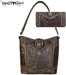 5 colors trinity ranch by montana west tooled leather purse tote bag + wallet