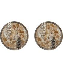 battice' black champagne diamonds oxidised sterling silver resin stud earrings