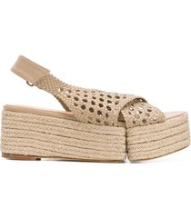 paloma barceló braided open-toe sandals - neutrals