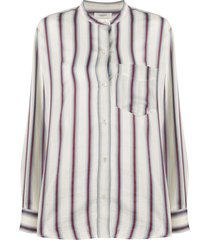 isabel marant étoile satchel striped print shirt - white