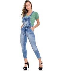 macacão jeans lemier collection com remoção das alças