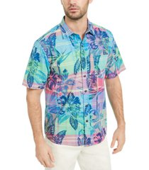 tommy bahama men's madras in paradise tropical print shirt