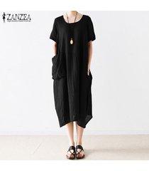 s-5xl zanzea para mujer con cuello redondo de manga corta de verano largo flojo de la camisa de vestido de midi -negro