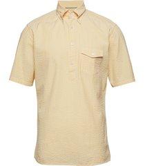 navy striped seersucker short sleeve popover shirt overhemd met korte mouwen geel eton