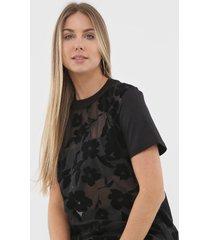 camiseta colcci veludo floral preta - preto - feminino - algodã£o - dafiti