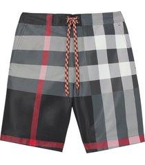 burberry check print swim shorts - grey