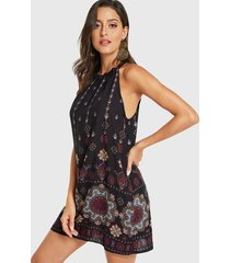 black tribal print halter knotted sleeveless dress