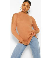 cold shoulder high neck sweater, tan