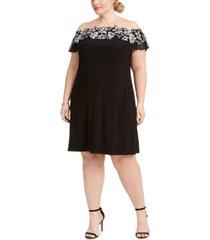 msk plus size illusion off-the-shoulder dress