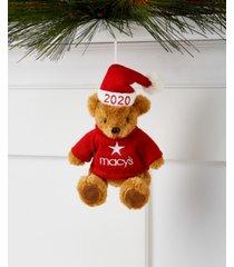 holiday lane macy's plush bear in santa hat ornament, created for macy's