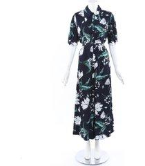erdem 2019 edwin floral jumpsuit blue/floral print sz: s