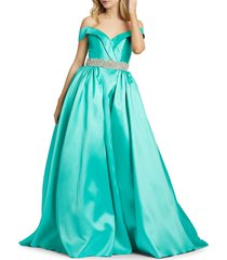 mac duggal women's embellished off-the-shoulder ball gown - winter grey - size 10