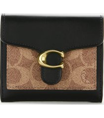coach women's colorblock coated canvas tabby small wallet - tan black