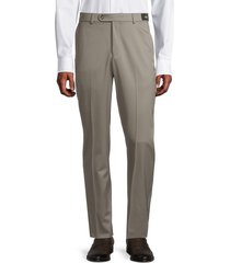 saks fifth avenue men's stretch gabardine wool trousers - taupe - size 38