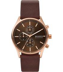 skagen men's chronograph holst brown leather watch 42mm