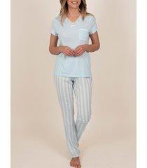 pyjama's / nachthemden admas binnenkleding pyjamabroek t-shirt classic stripes blauw